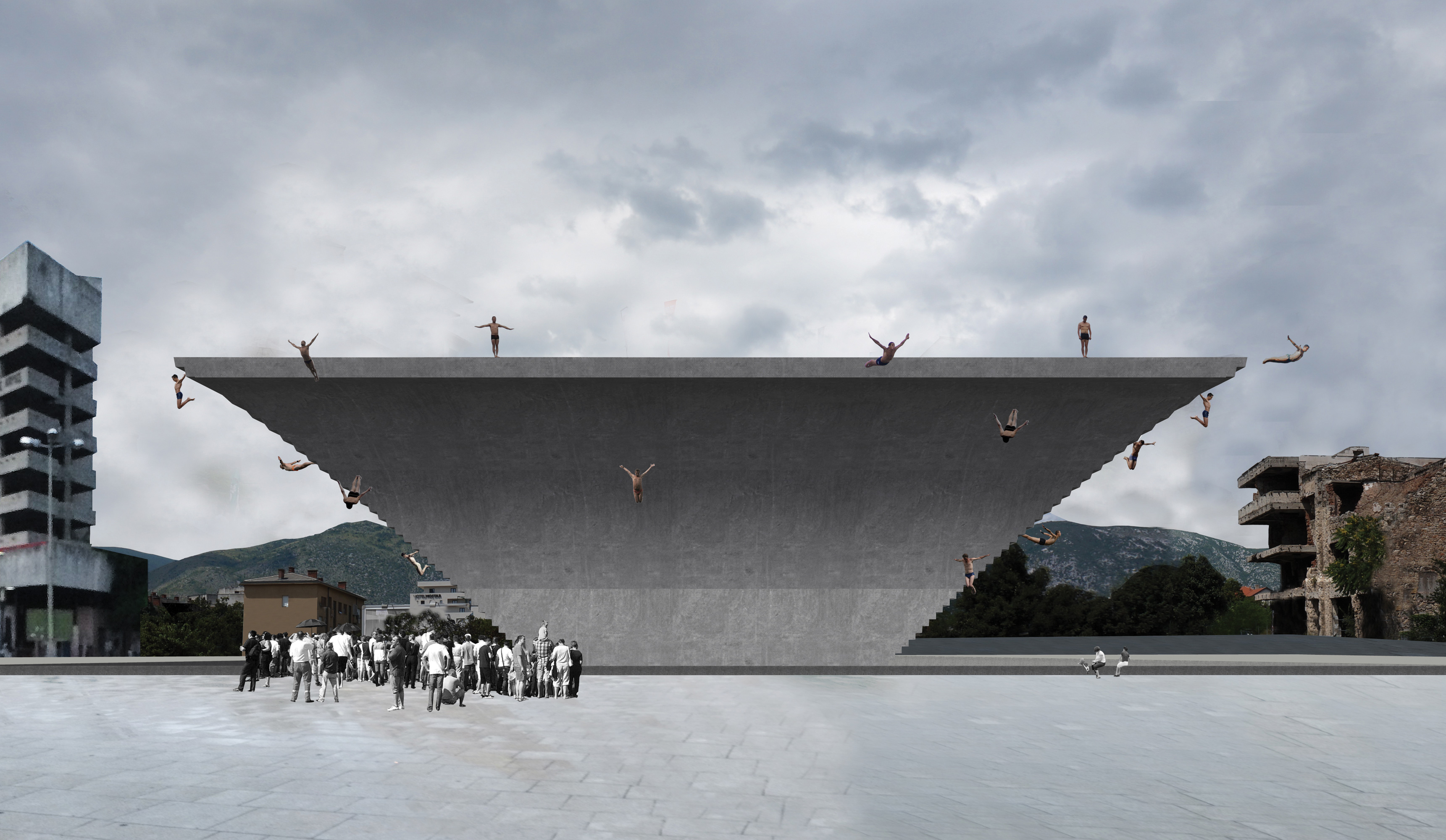 backside: Design intervention: a building with diving as its function and as an open public space, seen from the front.